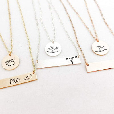 Words By Heart:Dance, Cheer, Gymnastics, Standard Horizontal Bar Necklace:Asheville, NC
