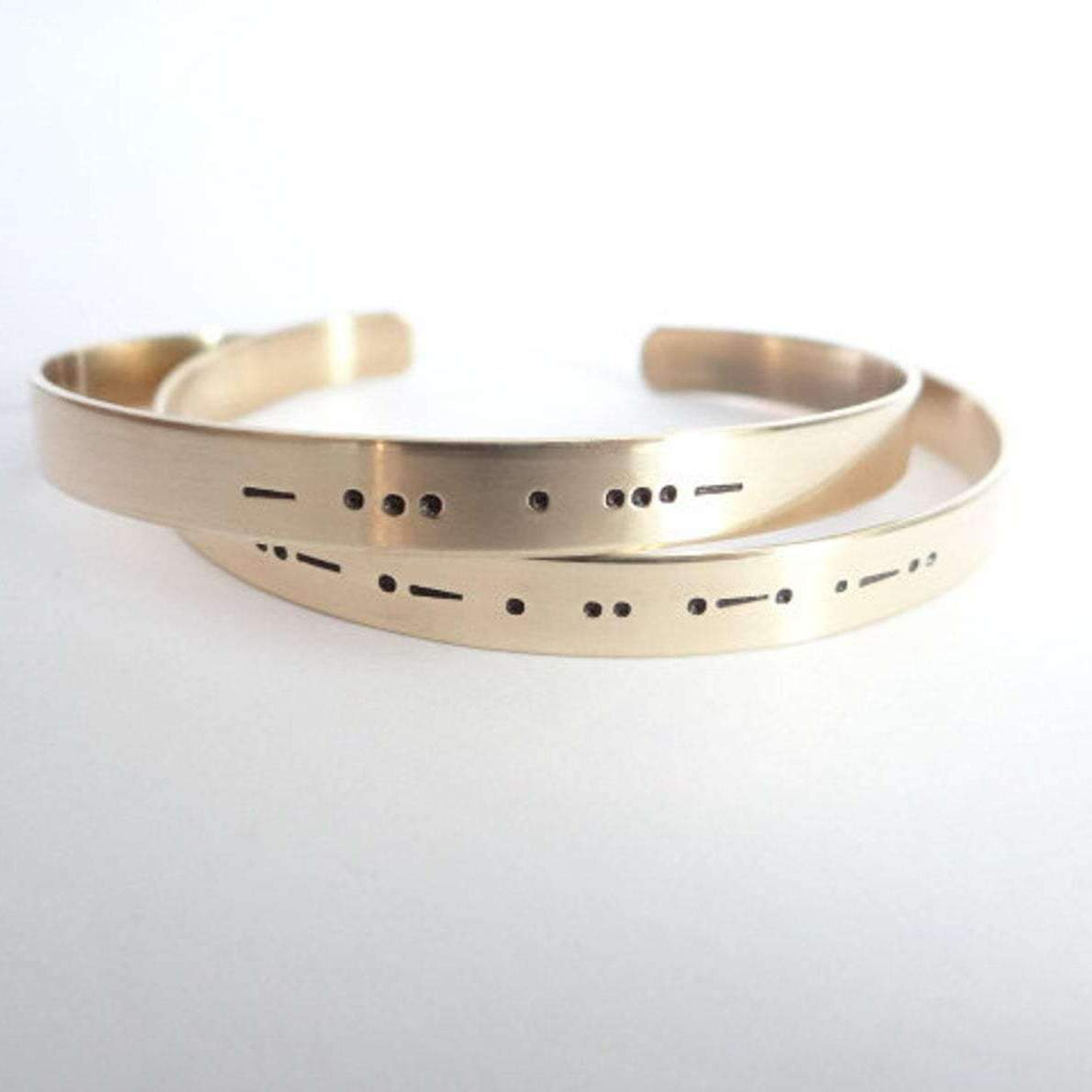 Words By Heart:Best Friends - Set of Matching Morse Code Cuff Bracelets:Asheville, NC