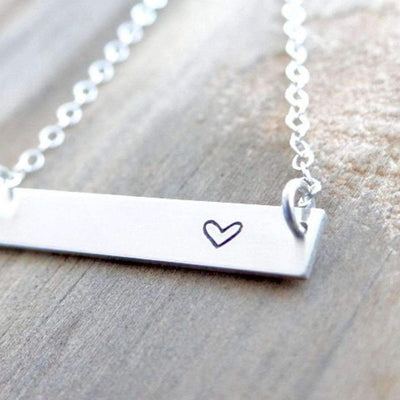 Words By Heart:Heart, Horizontal Bar Necklace:Asheville, NC