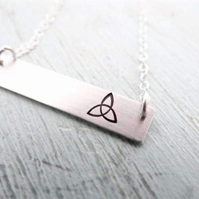 Words By Heart:Celtic Knot, Horizontal Bar Necklace:Asheville, NC