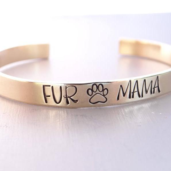 Words By Heart:Fur Mama (with paw print), Cuff Bracelet:Asheville, NC