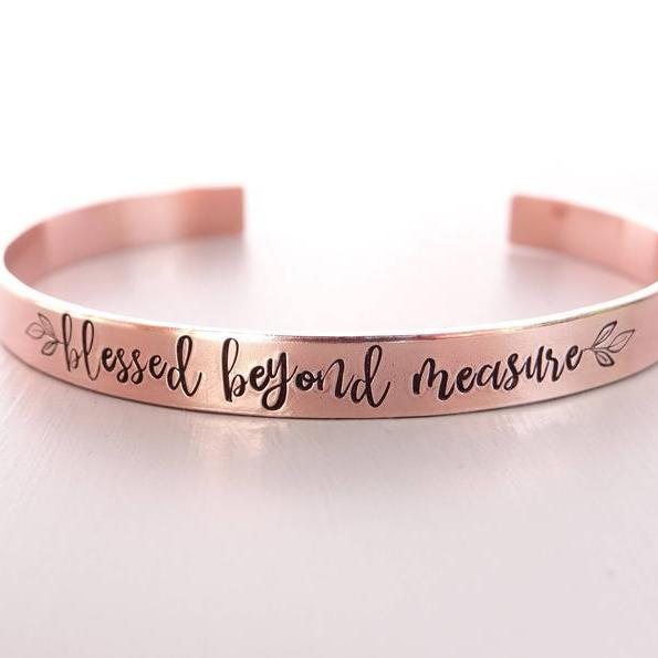 Words By Heart:Blessed Beyond Measure (with leaves), Cuff Bracelet:Asheville, NC