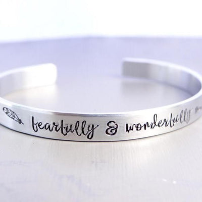 Words By Heart:Fearfully & Wonderfully Made (with feather), Cuff Bracelet:Asheville, NC