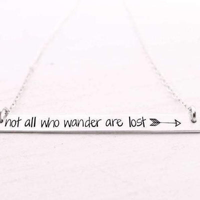 Words By Heart:Not All Who Wonder Are Lost (with arrow), XL Thin Horizontal Bar:Asheville, NC