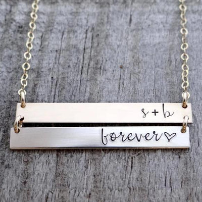 Words By Heart:Personalized Double Bar Necklace:Asheville, NC