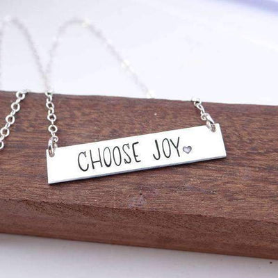 Words By Heart:Choose Joy (with heart), Horizontal Bar Necklace:Asheville, NC