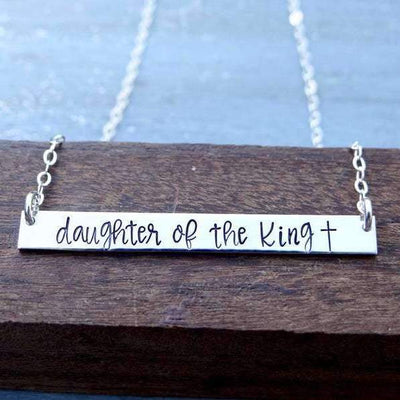 Words By Heart:Daughter Of The King (with cross), Large Thin Horizontal Bar:Asheville, NC