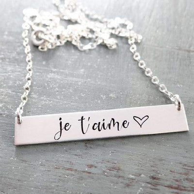 Words By Heart:Je T'aime - I Love You in French, Horizontal Bar Necklace:Asheville, NC