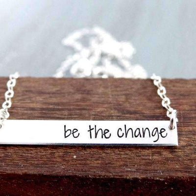 Words By Heart:Be The Change, Small Thin Horizontal Bar Necklace:Asheville, NC
