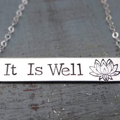 Words By Heart:It Is Well (with lotus flower), Large Standard Horizontal Bar:Asheville, NC