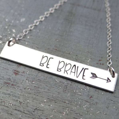 Words By Heart:Be Brave (with Arrow) Large Standard Horizontal Bar Necklace:Asheville, NC