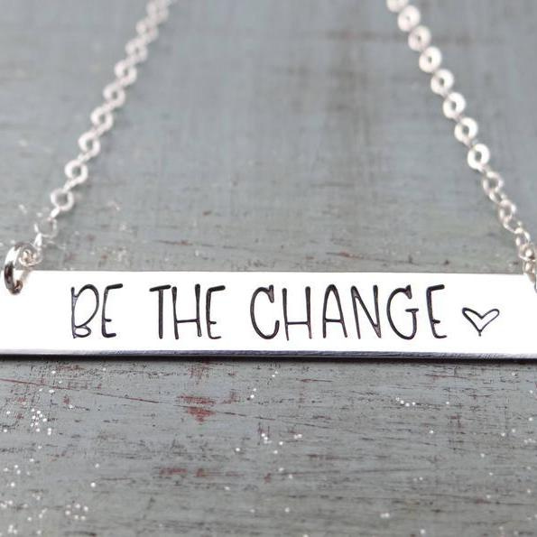 Words By Heart:Be The Change (with heart), Large Standard Horizontal Bar:Asheville, NC