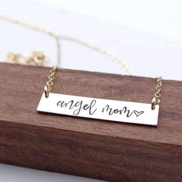 Words By Heart:Angel Mom (with heart), Small Standard Horizontal Bar Necklace:Asheville, NC