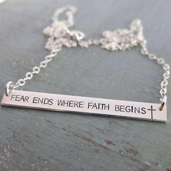 Words By Heart:Fear Ends Where Faith Begins (with cross), Large Thin Horizontal Bar:Asheville, NC