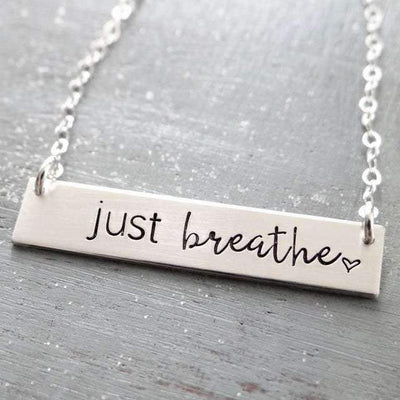 Words By Heart:Just Breathe (with heart), Horizontal Bar Necklace:Asheville, NC