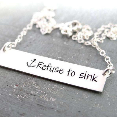 Words By Heart:Refuse To Sink (with anchor), Horizontal Bar Necklace:Asheville, NC