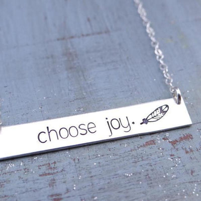 Words By Heart:Choose Joy. (with feather), Large Standard Bar Necklace:Asheville, NC