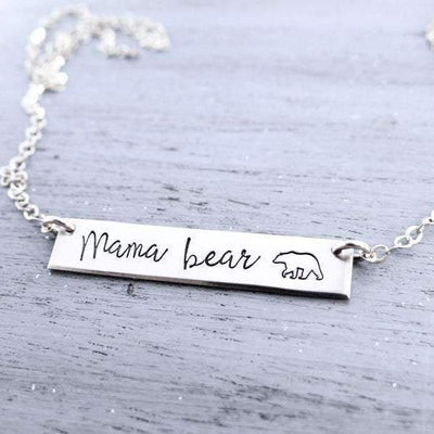 Words By Heart:Mama Bear (with bear), Horizontal Bar Necklace:Asheville, NC