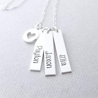 Words By Heart:Personalized Vertical Bar Necklace with Charm:Asheville, NC