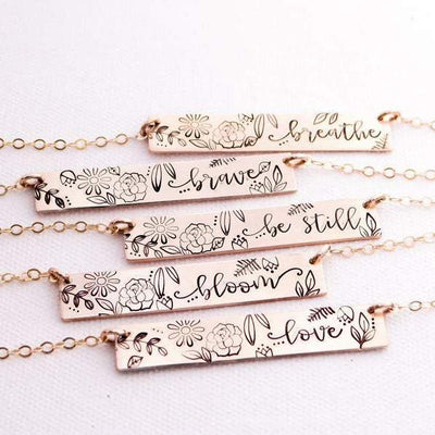 Words By Heart:Personalized Flower and Leaves, Horizontal Bar Necklace:Asheville, NC