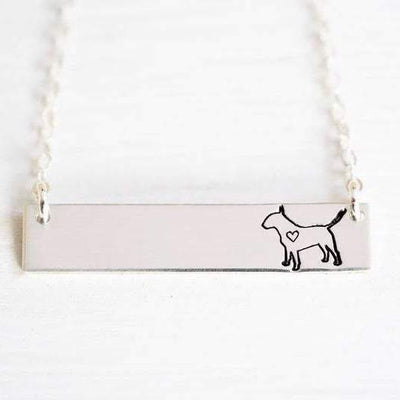 Words By Heart:Bull Terrier, Horizontal Bar Necklace:Asheville, NC