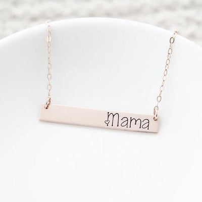 Words By Heart:Mama, Horizontal Bar Necklace:Asheville, NC