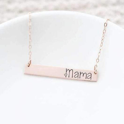 Words By Heart:Personalized Mama/Aunt/Grandma Horizontal Bar Necklace:Asheville, NC