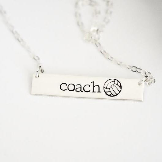 Words By Heart:Personalized Sports Necklace, Horizontal Bar Necklace:Asheville, NC