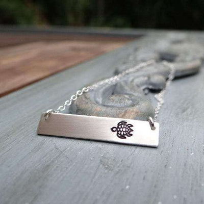 Words By Heart:Sea Turtle, Horizontal Bar Necklace:Asheville, NC