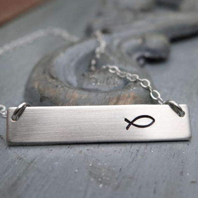 Words By Heart:Ichthus, Horizontal Bar Necklace:Asheville, NC