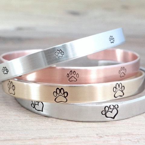 Words By Heart:Paw Print, Cuff Bracelet:Asheville, NC