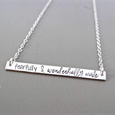 Words By Heart:Fearfully & Wonderfully Made, XL Thin Horizontal Bar:Asheville, NC