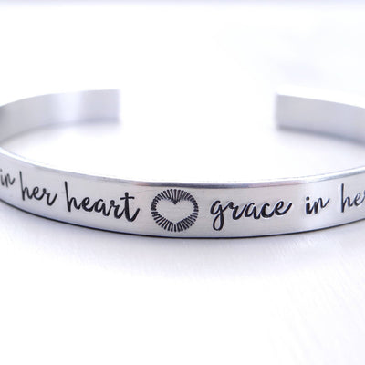 Words By Heart:Fire In Her Heart, Grace In Her Soul (with heart), Cuff Bracelet:Asheville, NC