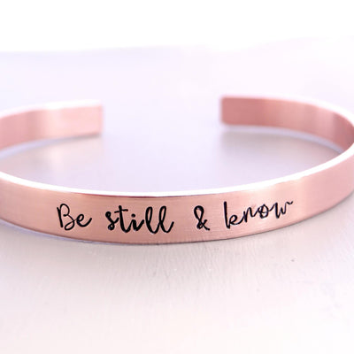 Words By Heart:Be Still & Know, Cuff Bracelet:Asheville, NC