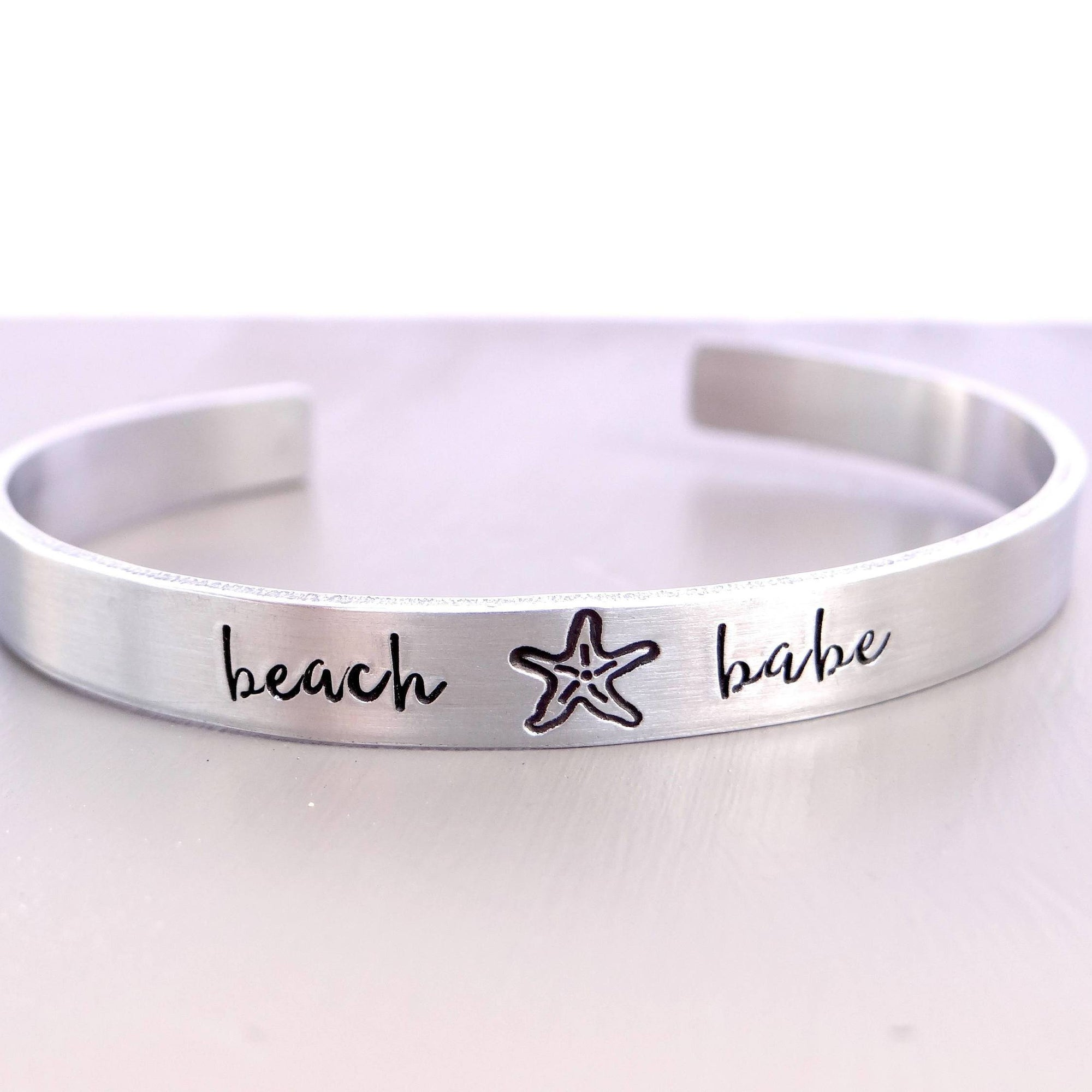 Words By Heart:Beach Babe (with starfish), Cuff Bracelet:Asheville, NC