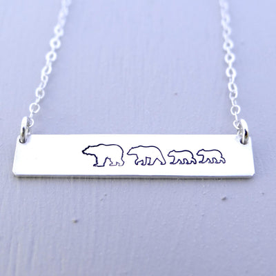 Words By Heart:Personalized Mama Bear, Horizontal Bar Necklace:Asheville, NC