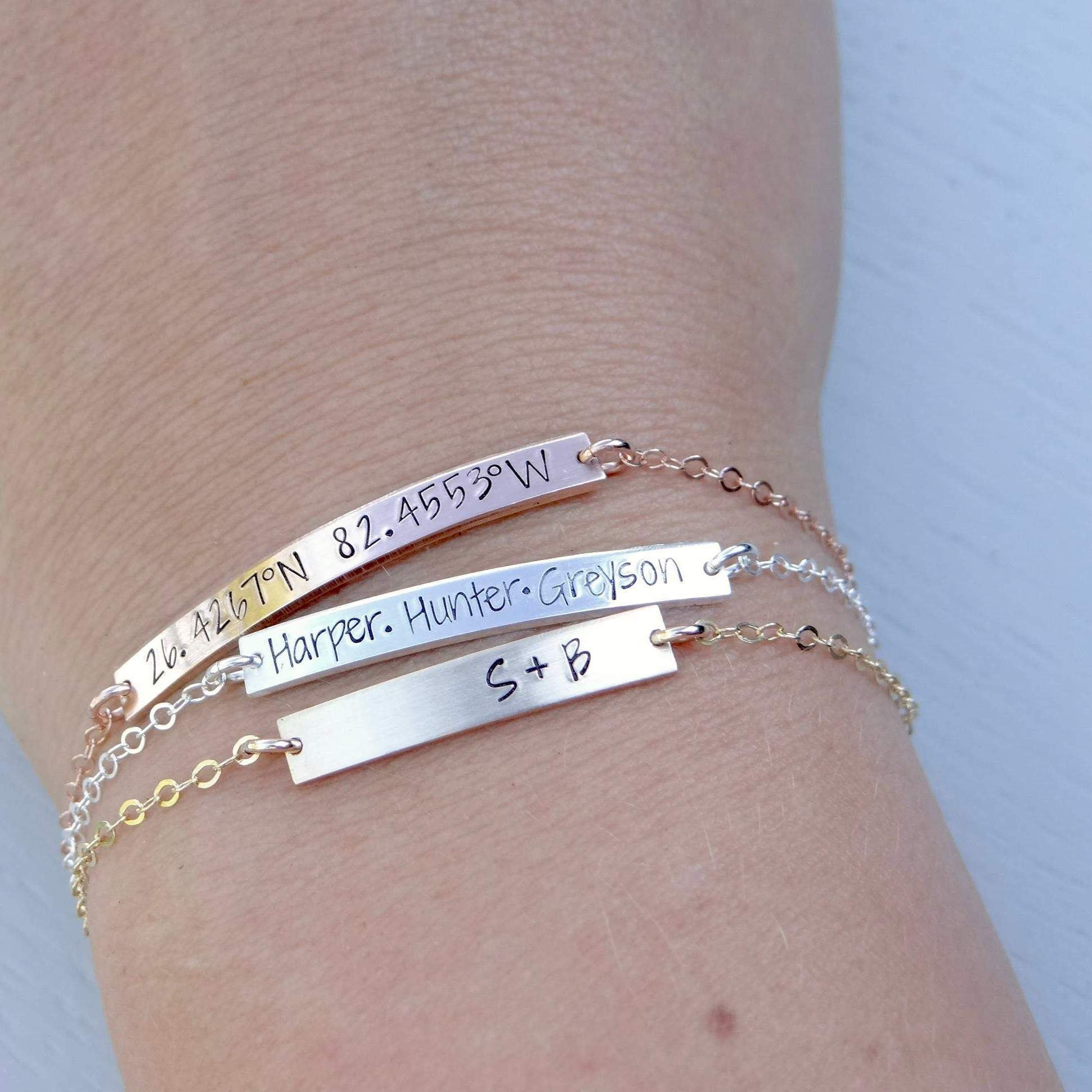Words By Heart:Personalized Bar Bracelet:Asheville, NC
