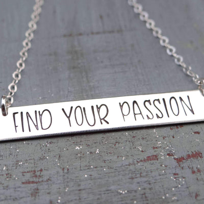 Words By Heart:Find Your Passion, Large Standard Horizontal Bar Necklace:Asheville, NC