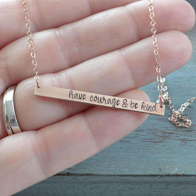 Words By Heart:Have Courage & Be Kind, XL Thin Horizontal Bar:Asheville, NC