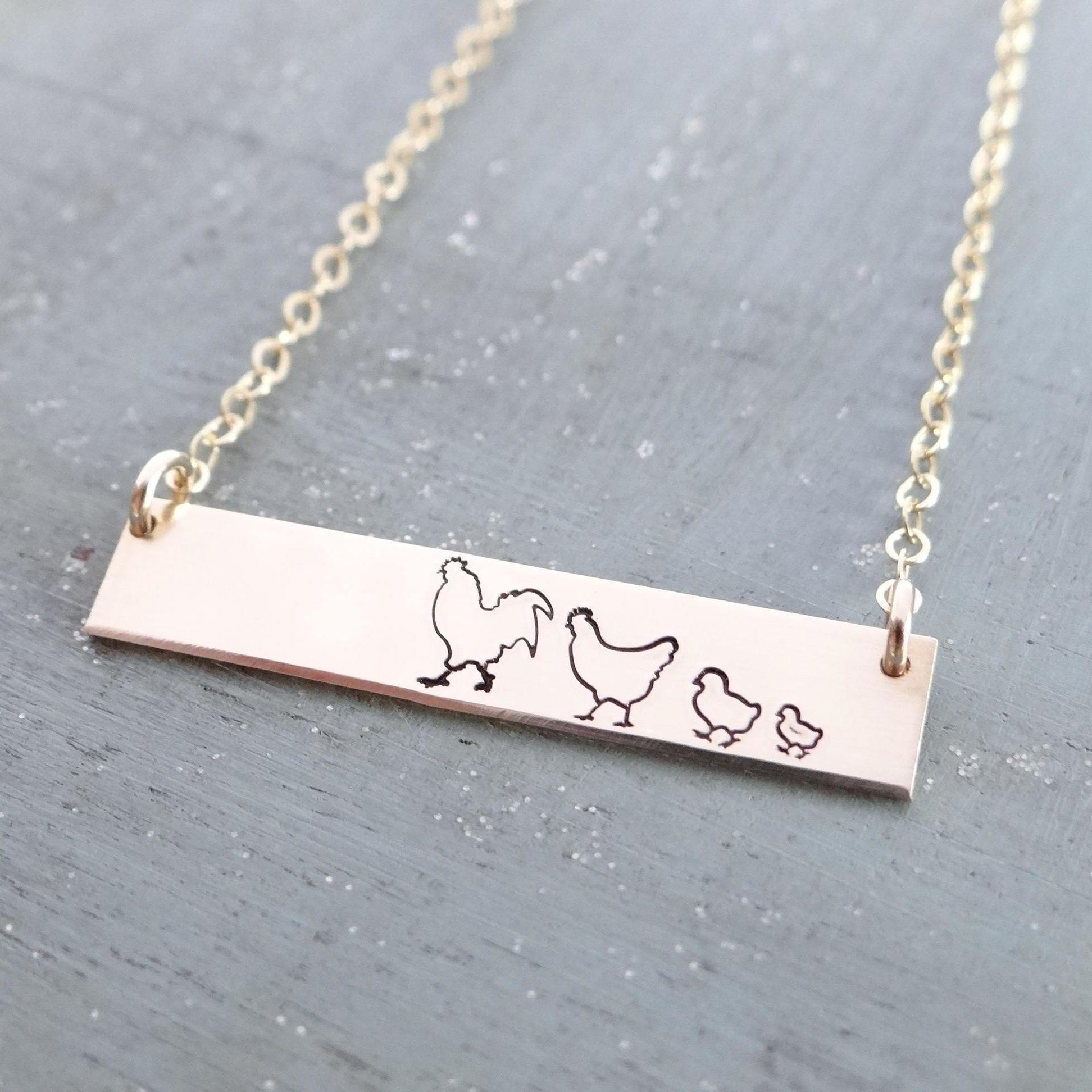 Words By Heart:Personalized Mama Chick, Horizontal Bar Necklace:Asheville, NC