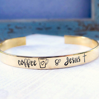 Words By Heart:Coffee & Jesus (with coffee mug and cross), Cuff Bracelet:Asheville, NC