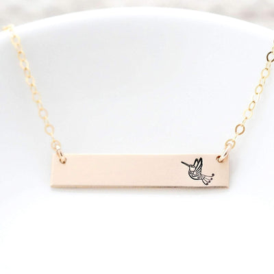 Words By Heart:Hummingbird, Horizontal Bar Necklace:Asheville, NC