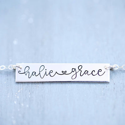 Words By Heart:Handwritten Names with Heart Bar Necklace:Asheville, NC