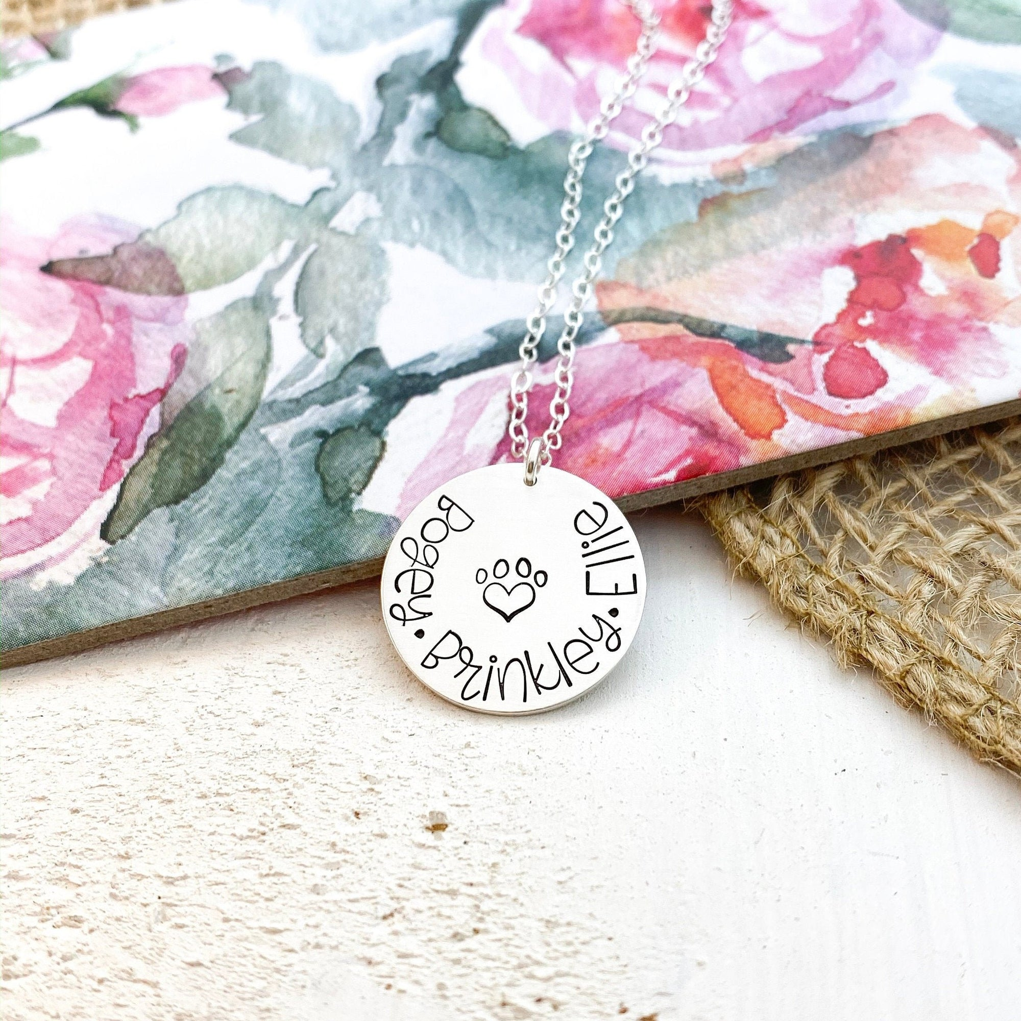 Words By Heart:Personalized Pet Name, Disc Necklace:Asheville, NC