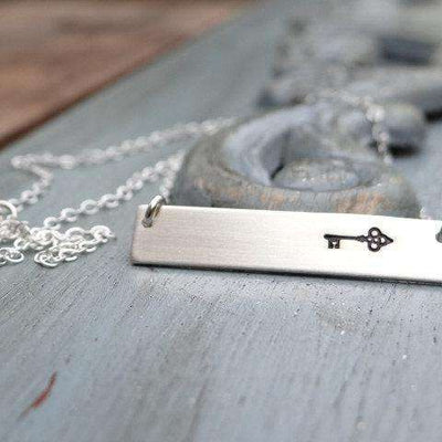 Words By Heart:Skeleton Key, Horizontal Bar Necklace:Asheville, NC