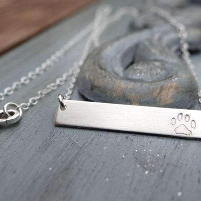 Words By Heart:Paw Print, Horizontal Bar Necklace:Asheville, NC