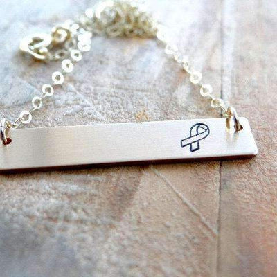 Words By Heart:Awareness Ribbon, Horizontal Bar Necklace:Asheville, NC