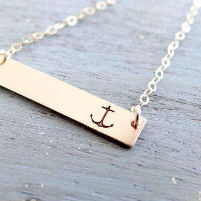 Words By Heart:Simple Anchor, Horizontal Bar Necklace:Asheville, NC