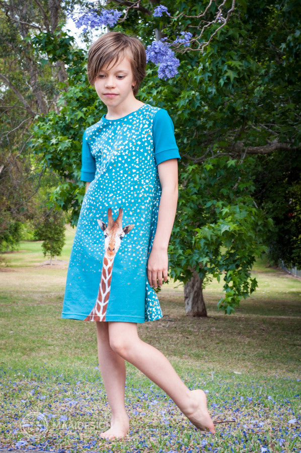 A super fast jersey dress in a border print fabric