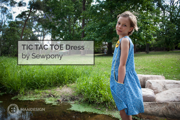 TIC TAC TOE Dress by Sewpony in Soft Cactus fabric and piping - MaaiDesign blog